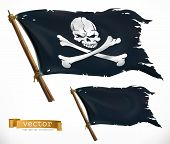 Pirate. Black Flag. Jolly Roger 3d Vector Icon poster