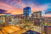 Phoenix, Arizona, USA cityscape in downtown at sunset. poster