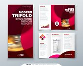 Tri Fold Brochure Design With Circle, Corporate Business Template For Tri Fold Flyer. Layout With Mo poster