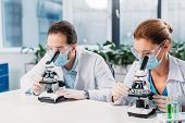 Portrait Of Scientists In Medical Masks And Gloves Looking Through Microscopes On Regents In Lab poster