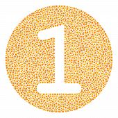 One Coin Collage Of Round Dots In Various Sizes And Color Shades. Circle Elements Are United Into On poster
