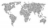 Global Geography Mosaic Map Organized Of Piggy Design Elements. Vector Piggy Scattered Flat Items Ar poster