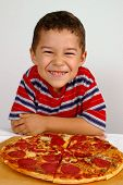 Boy Ready To Eat A Pizza