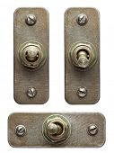 Aged metal toggle switches set.