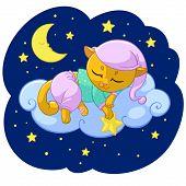 Kitty Dream Sleeping Cartoon Vector Illustration For Kid T-shirt Print Design Template. Cute Kitten  poster