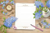 Lilac On Wooden Background. Spring Top View Composition With Blank Sheets Of Paper, Pen, Brass Key,  poster