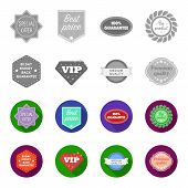 Money Back Guarantee, Vip, Medium Quality, Premium Quality.label, Set Collection Icons In Monochrome poster