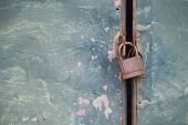 Rusty Metal Door Texture With Iron Master Key.security And Safe By Locked Door With Master Key.cland poster