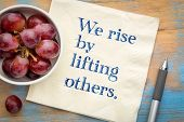 We rise by lifting others wisdom quote - handwriting on a napkin with fresh grapes poster