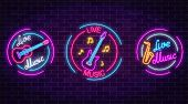 Set Of Neon Live Music Symbols With Circle Frames On Dark Brick Wall Background. Three Live Music Si poster