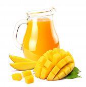 Mango Juice With Mango Slice Isolated On White Background. Jug Of Mango Juice. poster