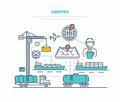 Logistics. Organization Delivery, Services For Transporting Cargo, Selecting Transport, Optimizing T poster