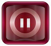 Icono de pausa, rojo, aislado sobre fondo blanco