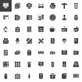 Office Tools Vector Icons Set, Modern Solid Symbol Collection, Filled Style Pictogram Pack. Signs Lo poster