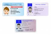 Car Driver License With Photo Vehicle Identity Banner Horizontal Concept Set. Flat Illustration Of 3 poster