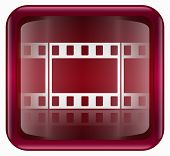 Película icono rojo, aislado sobre fondo blanco