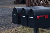 Group Of Black Mailboxes In Front Of A House.postboxes In Rainy Day Before Winter poster