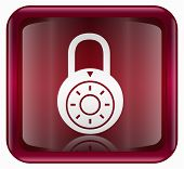 Lock Off Icon, Red, Isolated On White Background