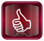 Thumb Up Icon, Approval Hand Gesture Red, Isolated On White Background