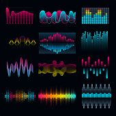 Set Of Music Equalizer Audio Waves Design Template Audio Signal Visualization Illustration. Colorful poster
