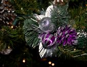 Christmas Tree Ornament Silver And Purple