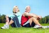 Постер, плакат: Пара старших здоровых фитнес В парке