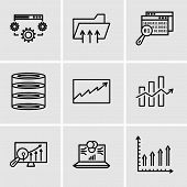 Set Of 9 Simple Editable Icons Such As Mobile Phone Text Data, Laptop Data Analytics On Screen With  poster