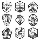 Vintage Monochrome Space Labels Set With Spaceships Ufo Astronauts Rocket Antenna Helmet Scientific  poster