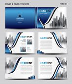 Blue Cover Design And Inside Template For Magazine, Ads, Presentation, Annual Report, Book, Leaflet, poster