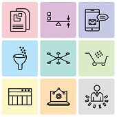 Set Of 9 Simple Editable Icons Such As User Data Analytics, Laptop Analysis, Table For Data, Cart Gr poster