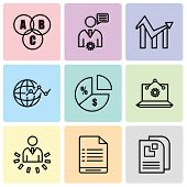 Set Of 9 Simple Editable Icons Such As Data Page, User Warning, User Data Analytics, Laptop Analysis poster