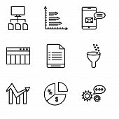 Set Of 9 Simple Editable Icons Such As 3d Data Analytics, Pie Chart Information On Money, Chart, Dat poster