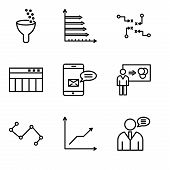 Set Of 9 Simple Editable Icons Such As User Data Speech, Data Analytics Descending, Nodes Connection poster