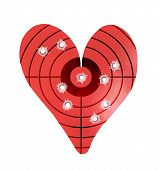 Bulletholes In A Metal Heart-shaped Target poster