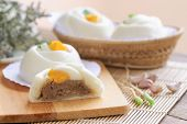 Chinese White Steamed Bun Known As Dim Sum Or Salapao Filled With Minced Pork Seasoning Decorate Wit poster
