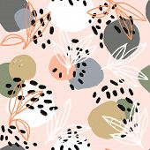Modern Abstract Pattern Collection. Hero Pattern With Brush Strokes, Shapes And Floral Elements. Tre poster