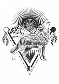 Vector Animal Tattoo Or T-shirt Print Design. Howling Wolf Combined With Nature, Compass Rose And Ge poster