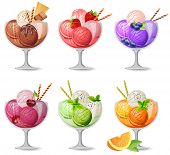 Set of realistic detailed fruit and choco icreams on white