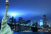 Brooklyn Brigde, tribute in light and The Statue of Liberty at Night Lights, New York City