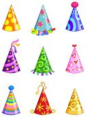 stock photo of party hats  - Vector colorful set of nine party hats - JPG