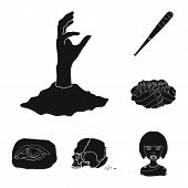 Zombies And Attributes Black Icons In Set Collection For Design. Dead Man Vector Symbol Stock  Illus poster