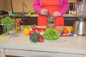Healthy Food. Woman Preparing Vegetables, Cooking Healthy Meal In The Kitchen. Preparing Dishes poster