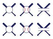 Vector Set With Baseball Logos, Split And Circle Monograms. Baseball Crossed Bats. Criss Cross Bats. poster