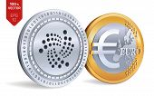 Iota. Euro Coin. 3d Isometric Physical Coins. Digital Currency. Cryptocurrency. Golden And Silver Co poster