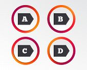 Energy Efficiency Class Icons. Energy Consumption Sign Symbols. Class A, B, C And D. Infographic Des poster