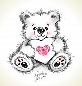Hand Drawn Furry Teddy Bear With A Heart In Paws.