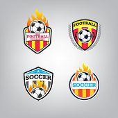Soccer Logo Design Template Set L Football Badge Team Identity Collection L Soccer Football T-shirt  poster