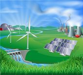 picture of hydroelectric  - Illustration of many different types of power generation including nuclear fossil fuel or coal and renewable energy or sustainable energy sources such as wind power or wind turbines photovoltaic cells or solar panels and hydro electric or water power - JPG