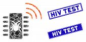 Mosaic Hardware Bug Pictogram And Rectangle Hiv Test Rubber Prints. Flat Vector Hardware Bug Mosaic  poster