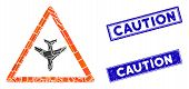 Mosaic Airplane Warning Pictogram And Rectangle Caution Rubber Prints. Flat Vector Airplane Warning  poster